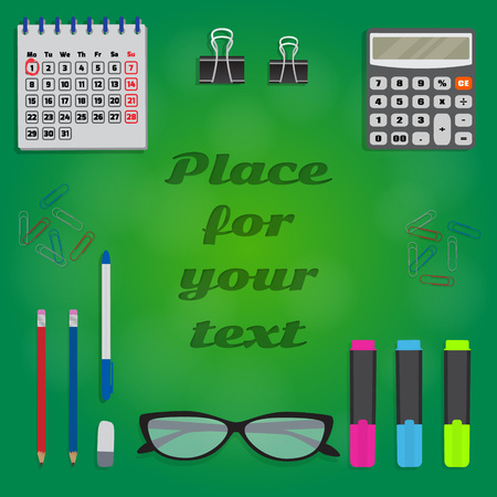 Background with stationery and space for text in center. Banner template. Collection of stationery such as calculator, pencils, markers on green background. Vector illustration. Stock Illustratie