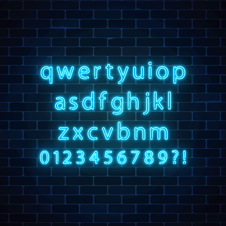 Vector neon style font. Glowing neon alphabet with lowercase letters on dark brick wall background. You can made your words with it.