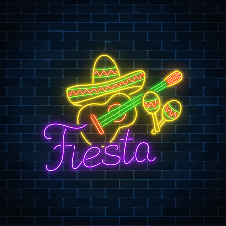 Glowing neon fiesta holiday sign on dark brick wall background. Mexican festival flyer design with guitar, maracas and sombrero hat. Vector illustration.