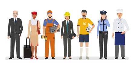Mitarbeiter- und Arbeitercharaktere stehen zusammen. Gruppe von sieben Personen mit unterschiedlichem Beruf. Banner für Beschäftigung und Arbeitstag. Vektorillustration.