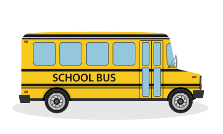 Vector illustration of school bus for children ride to school. Yellow education transportation vehicle in flat style. Side view.