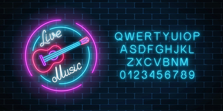 Neon alphabet and sign of bar with live music on a brick wall background. Advertising glowing signboard of sound cafe with classic guitar symbol. Vector illustration.
