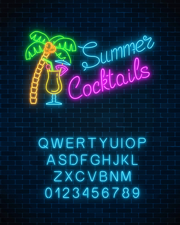 Neon summer cocktail bar sign with alphabet on brick wall background. Glowing gas advertising with pina colada alcohol shake and palm. Night club invitation. Vector illustration.  イラスト・ベクター素材