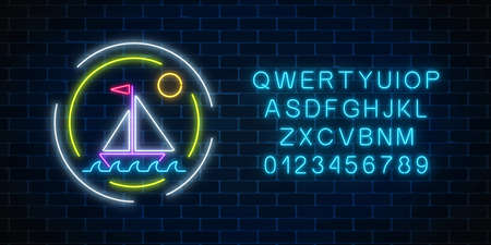 Glowing neon summer sign with sailing ship in ocean in round frames and alphabet on dark brick wall background. Shiny summertime symbol. Vector illustration. 일러스트