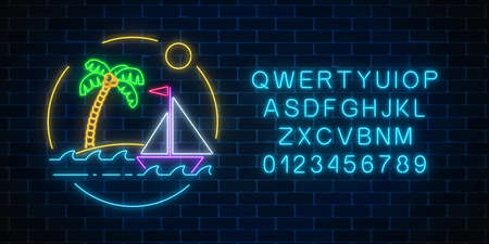 Glowing neon summer sign with sailing ship and island with palm in ocean in round frames with alphabet on dark brick wall background. Shiny summertime symbol. Vector illustration.