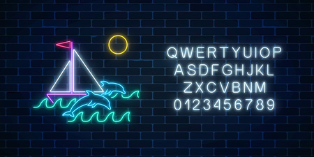 Glowing neon summer sign with sailing ship, dolphins in ocean in round frames and alphabet on dark brick wall background. Shiny summertime symbol. Summer design template. Vector illustration.