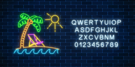 Glowing neon summer sign with alphabet, palm, sun, chaise-longue on dark brick wall background. Shiny summertime symbol. Deck chair on island beach near blue sea. Vector illustration.