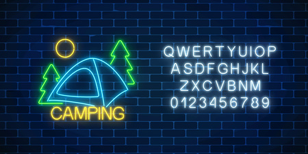 Neon camping sign with spruce and tent. Glowing web banner for summer camp, camping, nature tourism with alphabet in neon style. Vector illustration