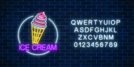 Neon glowing sign of icecream with glaze in circle frame with alphabet on a dark brick wall background. Ice-cream in waffle cone. Fastfood light billboard symbol. Cafe menu item. Vector illustration.