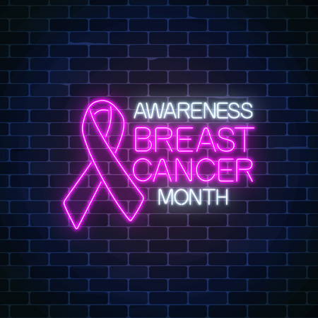 Glowing neon sign of breast canser awareness month in october. Neon poster design with pink ribbon and text on dark brick wall background. Vector illustration.