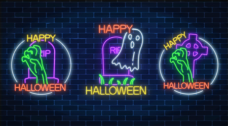 Set of three halloween illustrations in neon style. Bony hand and chost silhouette from grave. Vector illustration. Bright halloween night scary sign in neon style