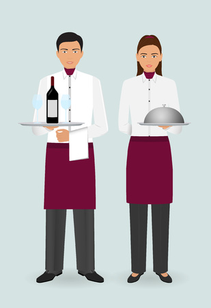 Restaurant team concept. Couple of waiter and waitress with dishes and in uniform stand together. Food service occupation staff. Vector illustration.