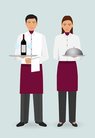 Restaurant Team Konzept. Paar Kellner und Kellnerin mit Geschirr und in Uniform stehen zusammen. Food Service Berufspersonal. Vektorillustration. Vektorgrafik