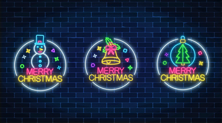 Set of three christmas illustrations in neon style. Three holiday signs in circle frames with snowman, christmas tree and bell. Vector illustration.