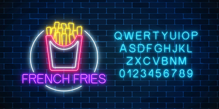 Neon glowing sign of burger in circle frame with alphabet on a dark brick wall background. Fastfood light billboard symbol. Cafe menu item. Vector illustration.