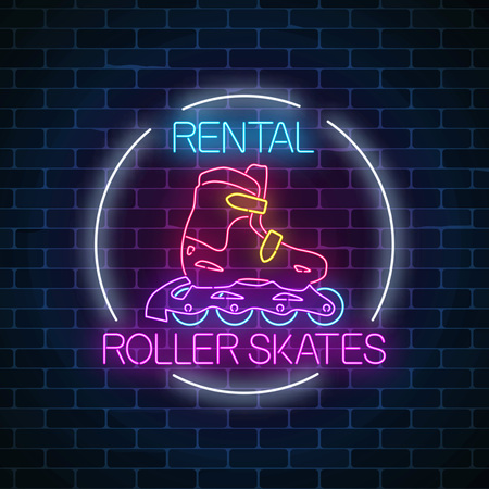 Roller skates rental glowing neon sign in circle frame on dark brick wall background. Skate zone symbol in neon style. Vector illustration.