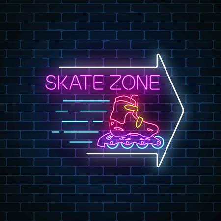 Skate zone glowing neon sign with guide arrow on dark brick wall background. Roller skates rental symbol in neon style. Vector illustration.