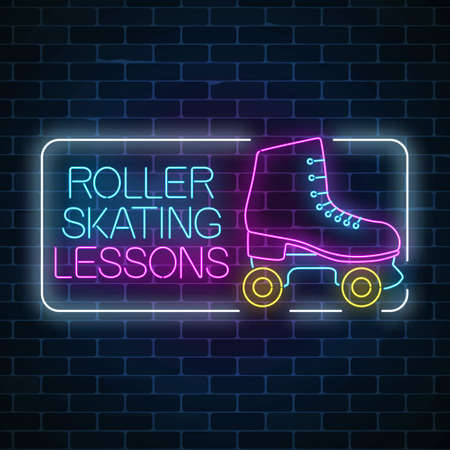 Lekcje jazdy na rolkach reklama znak. Retro wrotki świecące neon znak. Symbol strefy skate w stylu neonowym. Ilustracja wektorowa.