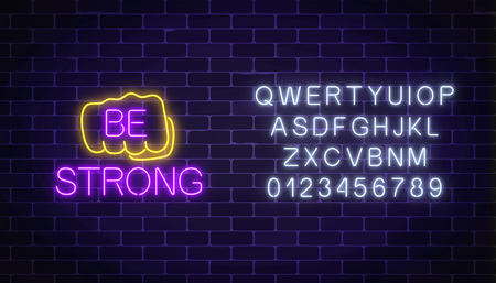 Glowing neon sign of human fist with wish to be strong on dark brick wall background with alphabet. Friend support in difficult situation as a neon symbol. Vector illustration. Çizim