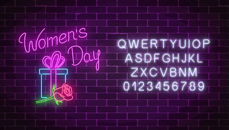 Glowing neon banner of 8 march holiday with alphabet on dark brick wall background. Spring world women day greeting card with gift box and rose flower. Vector illustration.