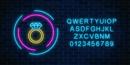 Glowing neon banner including a ring with a diamond with alphabet on dark brick wall background. Jewelry icon in circle frames. Vector illustration.