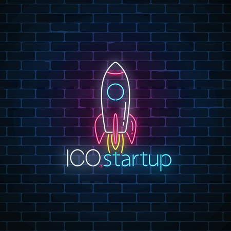 Glowing neon sign of ICO project startup on dark brick wall background. Business fast start symbol as a flying rocket in neon style. Vector illustration.