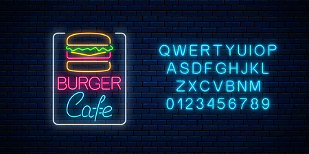 Neon burger cafe glowing signboard with alphabet on a dark brick wall background. Fastfood light billboard sign. Vector illustration.