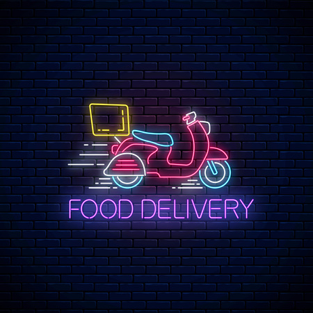 Glowing neon food delivery sign with delivering scooter on dark brick wall background. Fast delivery symbol in neon style. Fast food concept illustration. Vector. Ilustração