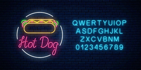 Neon hot dog cafe glowing signboard with alphabet on a dark brick wall background. Fastfood light billboard sign. Vector illustration. Ilustração