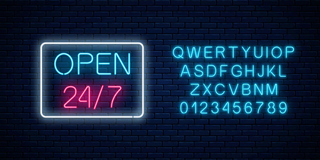 Neon open 24 hours 7 days a week sign in geometric shape with alphabet on a brick wall background. Round the clock working bar or night club signboard with lettering. Vector illustration.