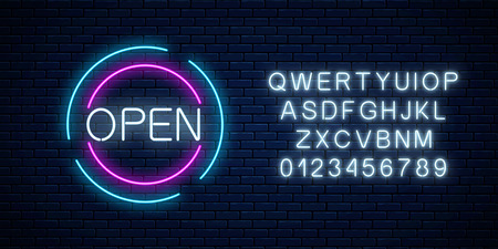 Neon open 24 hours and 7 days in circle frames sign with alphabet on a brick wall background. Round the clock working bar or night club signboard. Vector illustration. Çizim