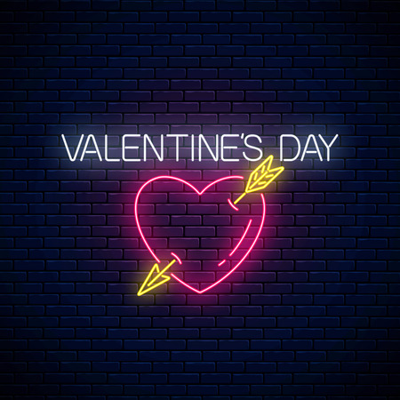 Glowing neon valentines day sign with heart shape with arrow on dark brick wall background. Vector illustration of valentine day greeting card in neon style.