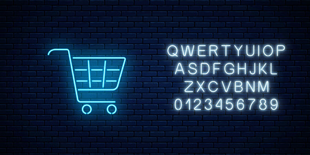 Glowing neon supermarket shopping cart sign with alphabet on a dark brick wall background. Light effects store basket. Vector illustration. Çizim