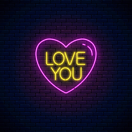 Love you text in heart shape in neon style. Happy Valentines Day neon glowing festive sign on a dark brick wall background. Holiday greeting card with lettering. Vector illustration.