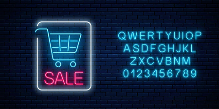 Neon glowing sale sign with shopping cart and alphabet on a dark brick wall background. Big season discount neon banner. Vector illustration.