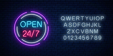 Neon open 24 hours 7 days a week sign in circle shaps with alphabet on a brick wall background. Round the clock working bar or night club signboard. Vector illustration.