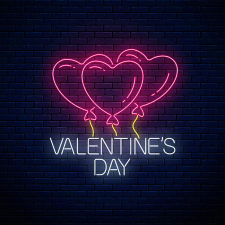 Glowing neon sign of valentines day with heart shape balloons on dark brick wall background. Vector illustration of valentine day greeting card in neon style.