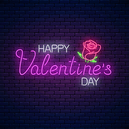 Glowing neon happy valentines day text with rose flower on dark brick wall background. Vector illustration of valentine day greeting card with lettering in neon style.