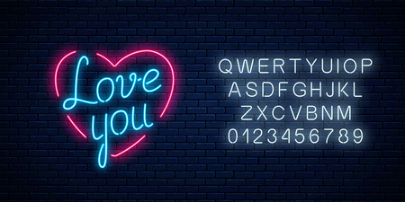 Happy Valentines Day neon glowing festive sign with alphabet on a dark brick wall background. Love you yexy in heart shape. Holiday greeting card with lettering. Vector illustration. Çizim