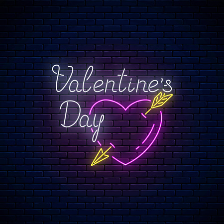 Glowing neon sign of valentines day with heart shape with arrow on dark brick wall background. Vector illustration of valentine day greeting card in neon style.