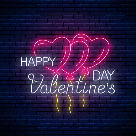 Glowing neon sign of valentines day with heart shape balloons on dark brick wall background. Vector illustration of happy valentine day greeting card in neon style. Çizim
