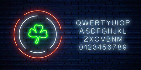 Neon glowing clover leaf sign with alphabet on a dark brick wall background. Green shamrock as Irish national holiday symbol in circle frames. Vector illustration.