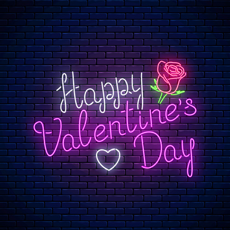 Glowing neon happy valentines day text with rose flower and heart shape on dark brick wall background. Vector illustration of valentine day greeting card with lettering in neon style.