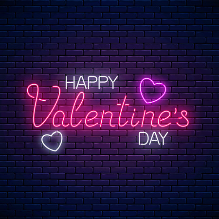 Glowing neon happy valentines day text with heart shapes on dark brick wall background. Vector illustration of valentine day greeting card with lettering in neon style. Çizim