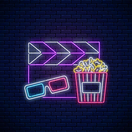 Neon sign of cinema night. Cinema time neon logo, signboard, banner with popcorn, 3D glasses and movie clapperboard on brick wall background. Vector illustration
