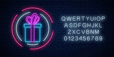 Neon gift with ribbon glowing sign in circle shapes with alphabet on a dark brick wall background. Vector illustration.