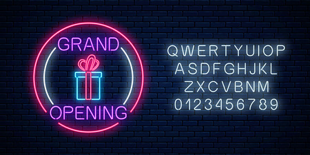 Neon new store grand opening with lottery and gift sign in circle shapes with alphabet on a brick wall background. Round the clock working night club signboard with lettering. Vector illustration. Çizim