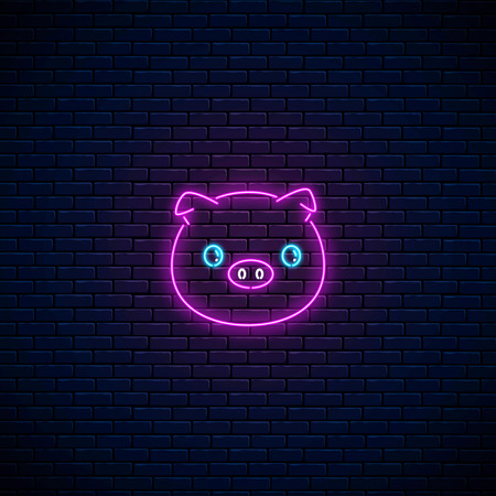Glowing neon sign of cute pig in kawaii style on dark brick wall background. Cartoon happy smiling piggy in neon style. Vector illustration. Çizim