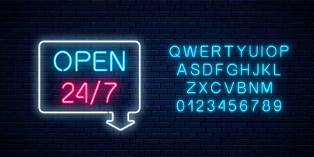 Neon open 24 hours 7 days a week sign in geometric shape with arrow and alphabet on a brick wall background. Round the clock working bar or night club signboard with lettering. Vector illustration.