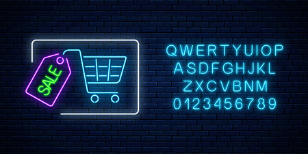 Neon glowing sale sign with shopping cart and tag with alphabet on a dark brick wall background. Luminous advertising signboard. Big season discount neon banner. Vector illustration.